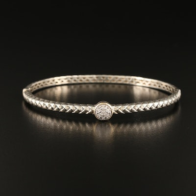 Town & Country Sterling Diamond Braided Bangle with 14K Accent