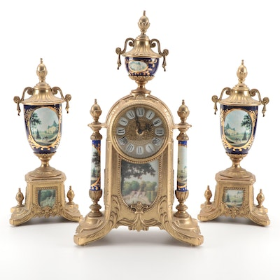 Porcelain and Gilt Brass Mantel Clock and Garniture, Late 20th Century