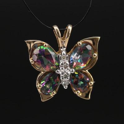 10K Topaz and Diamond Butterfly Pendant