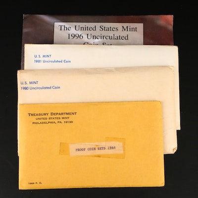 Three U.S. Mint Uncirculated Sets and One Silver Proof Set
