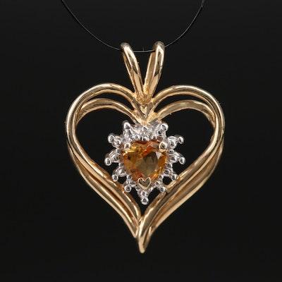 10K Citrine and Diamond Heart Pendant