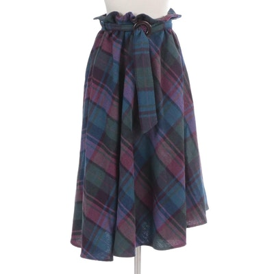 Harvey's Place Three-Quarter Circle Skirt in Plaid with Matching Belt