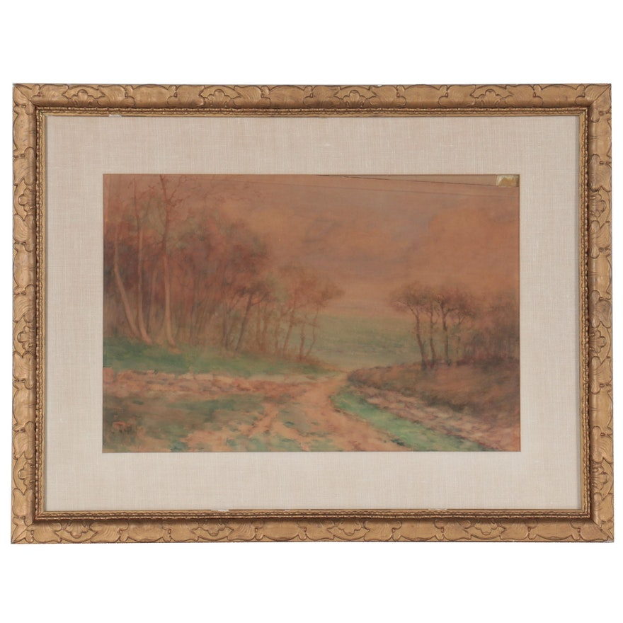 Landscape Watercolor Painting, Early 20th Century