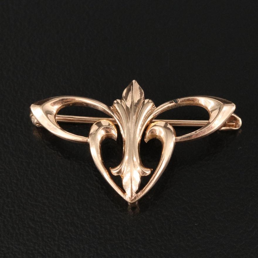Art Nouveau Hayden W. Wheeler & Co. 10K Brooch with Watch Hook