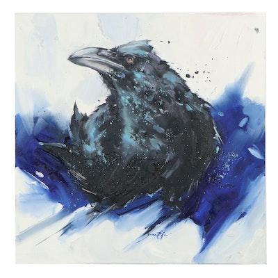 Juna Efe Oil Painting of Crow, 21st Century