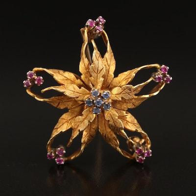 18K Ruby and Sapphire Foliate Brooch
