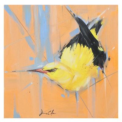 Juna Efe Oil Painting of Bird, 21st Century