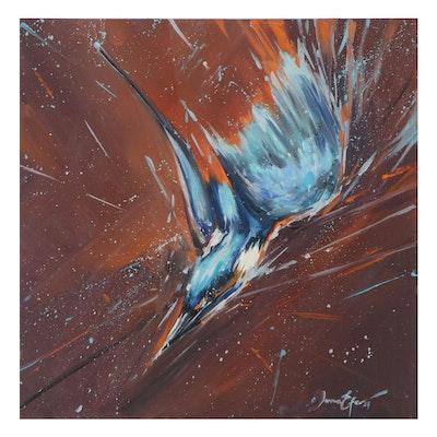 Juna Efe Acrylic Painting of Bird in Flight, 2021