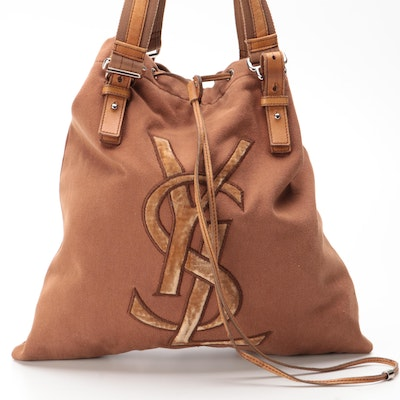 Yves Saint Laurent Rive Gauche Kahala Tote in Brown Canvas with Leather Trim