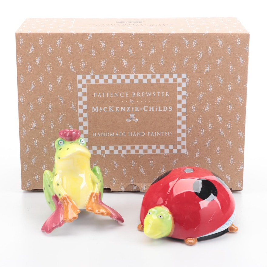 MacKenzie-Childs Patience Brewster Frog and Lady Bug Salt and Pepper Shakers