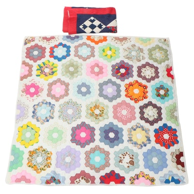"Handmade ""Grandmother's Flower Garden"" and Album Pieced Quilts"