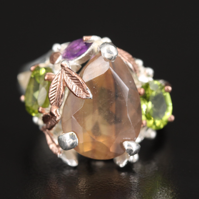 Sterling Foliate Ring with Fluorite, Peridot and Amethyst