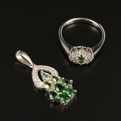 Sterling Tourmaline and Zircon Ring and Pendant