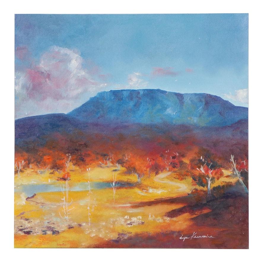 Inga Khanarina Landscape Oil Painting of Mesa, 21st Century