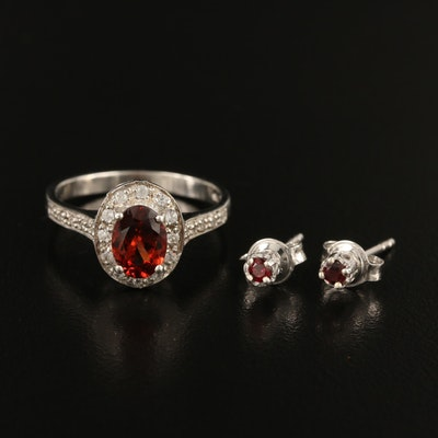 Sterling Ring and Earrings Including Garnet, Tourmaline and Zircon