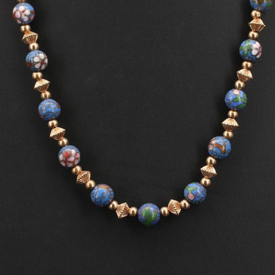 Italian 14K Cloisonné Beaded Necklace