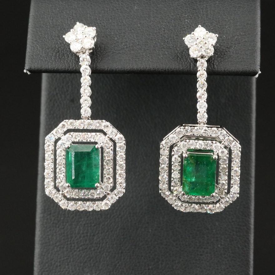 14K Emerald and 3.44 CTW Diamond Double Halo Drop Earrings