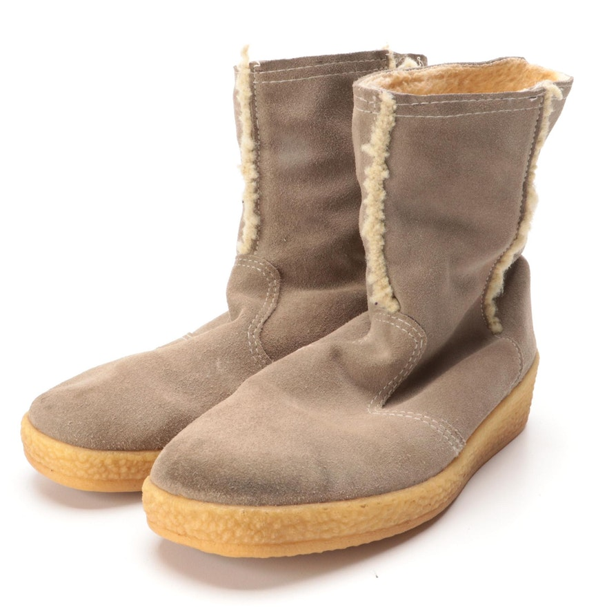 Grey Suede and Faux Shearling Boots