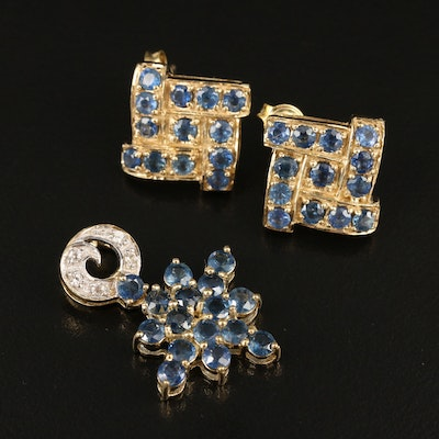 Sterling Sapphire and Zircon Earrings and Pendant