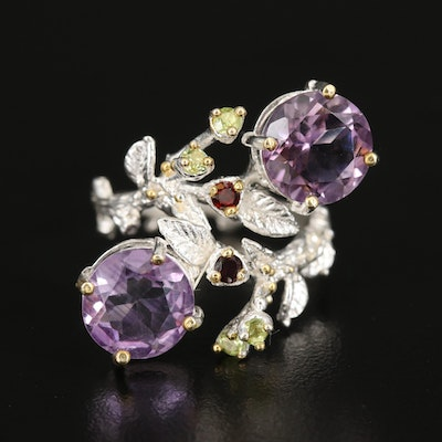 Sterling Bypass Ring with Amethyst, Garnet and Peridot