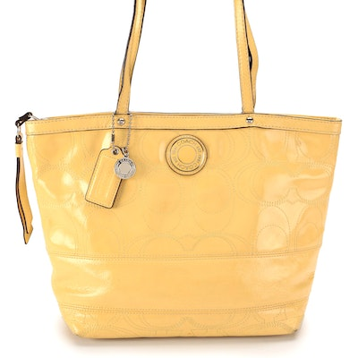 Coach Signature Stitched Logo Tote in Yellow Patent Leather