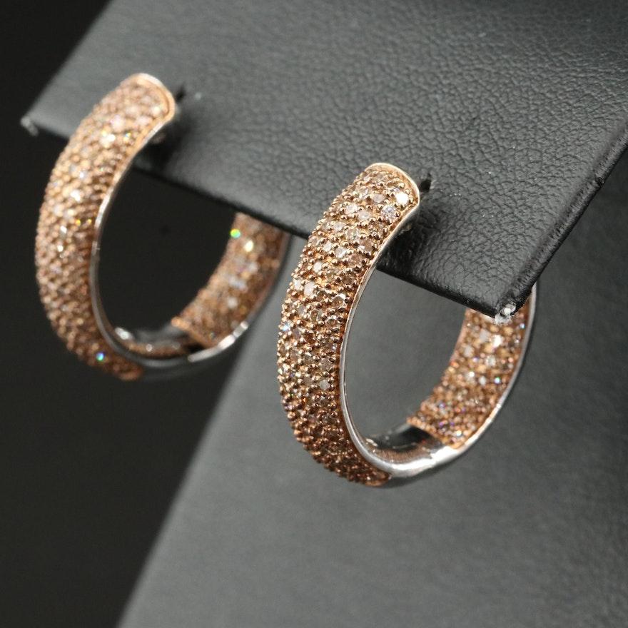 Sterling Pavé 1.50 CTW Diamond Inside-Out Hoop Earrings