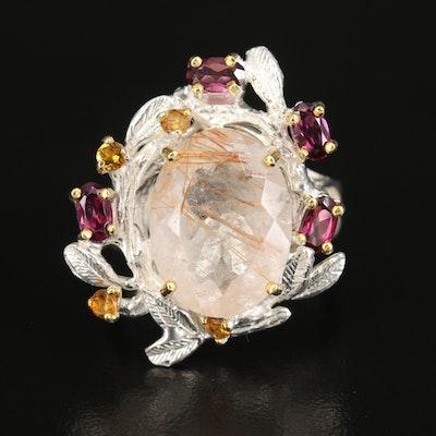 Sterling Rutilated Quartz, Rhodolite Garnet and Tourmaline Foliate Ring