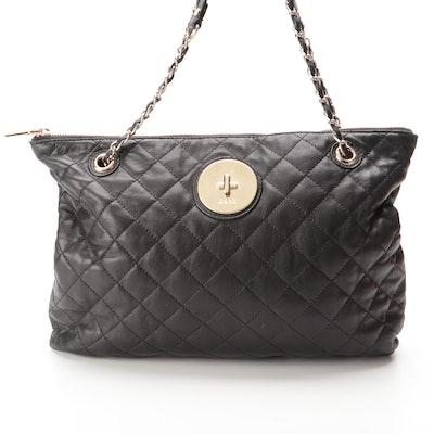 DKNY Shoulder Bag in Black Quilted Leather