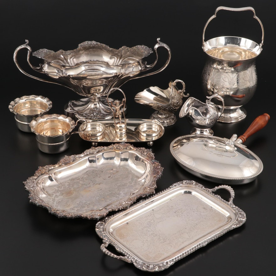 Pairpoint Baroque Style Centerpiece with English and American Silver Plate
