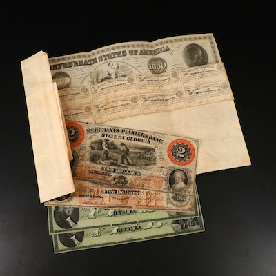 Obsolete Southern Banknotes and Confederate War Bond, Mid-19th Century