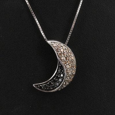 Italian Sterling Pavé Diamond Crescent Moon Pendant Necklace