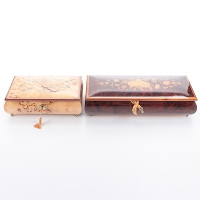 Rita's Shop and Other Italian Inlaid Wood Musical Jewelry Boxes