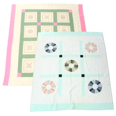 """Handmade """"Dresden Plate"""" Appliqué and Embroidered Floral Block Quilts"""