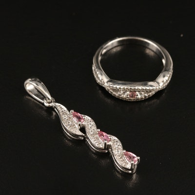 Sterling Pink Tourmaline and Zircon Pendant and Ring