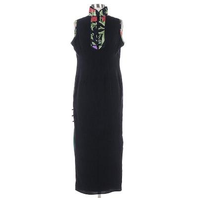 Black Sleeveless Cheongsam Style Dress with Floral Trim Mandarin Collar