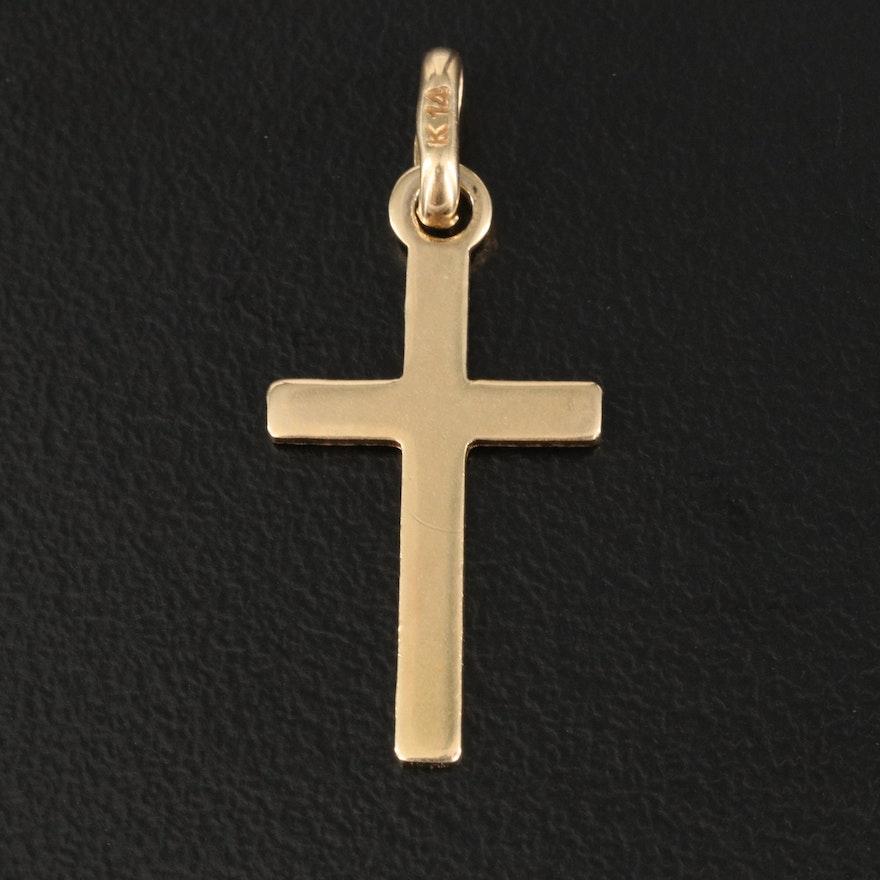 Italian 14K Textured Cross Pendant