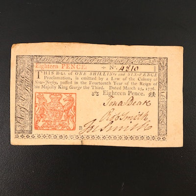 1776 New Jersey 18-Pence Colonial Currency Note