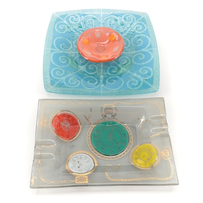 Higgins Fused Glass Ashtrays and Trays, Late 20th Century