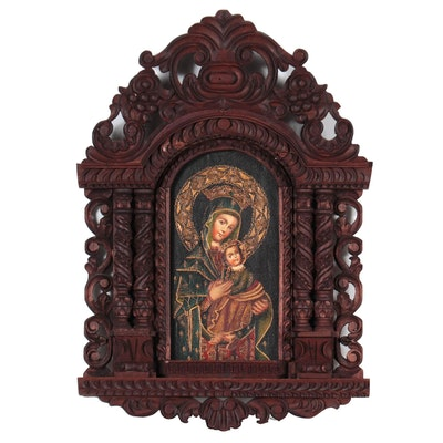 Cuzco School Style Oil Painting Madonna and Child, Late 20th Century