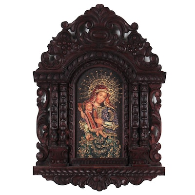 Cuzco School Style Oil Painting Madonna and Child