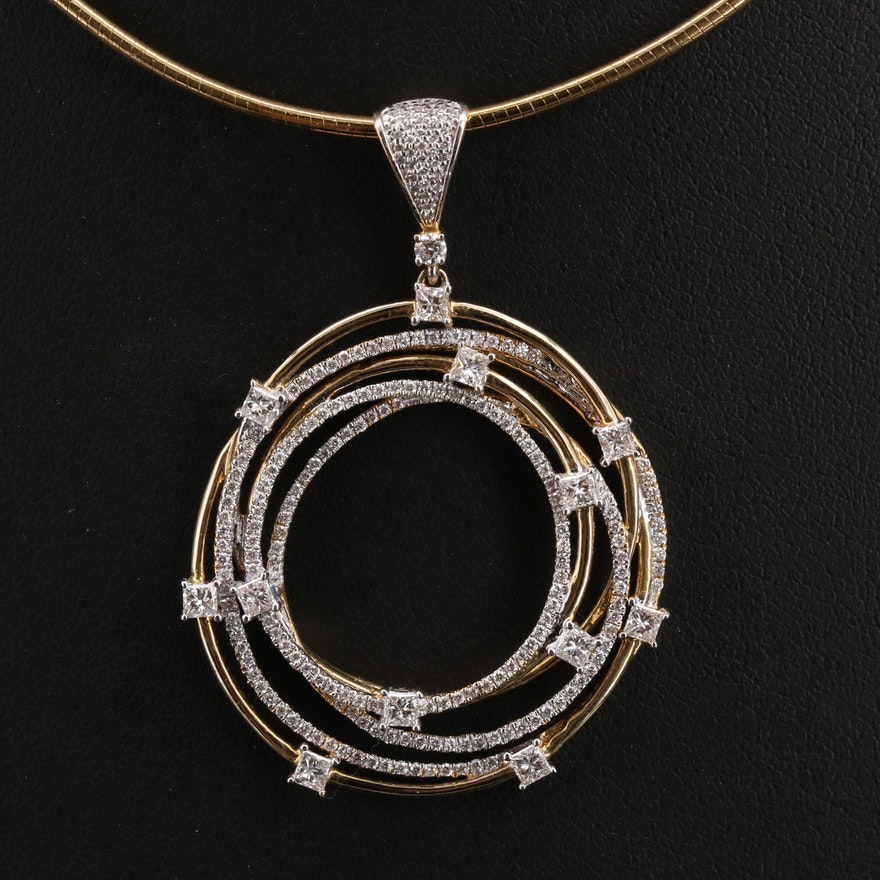 14K 1.44 CTW Diamond Circle Pendant on Italian Necklace