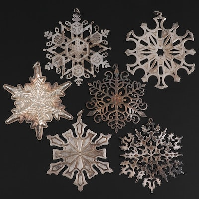 Gorham Sterling Silver Snowflake Ornaments and Other Sterling Silver Ornaments