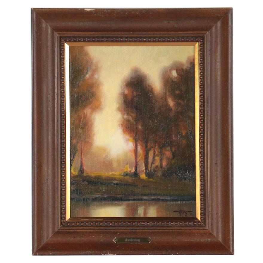 "Keith Huey Landscape Oil Painting ""Awakening,"" 21st Century"
