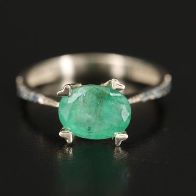 14K 1.75 CT Emerald and Sapphire Ring