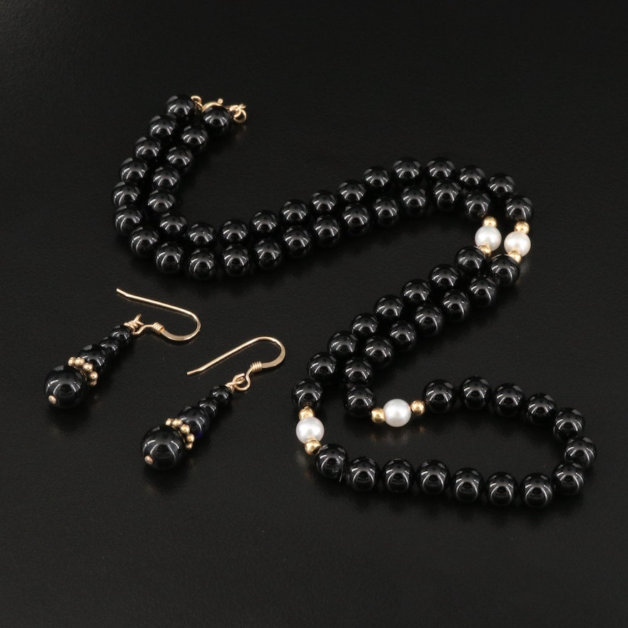 14K Black Onyx and Pearl Necklace and Earring Set
