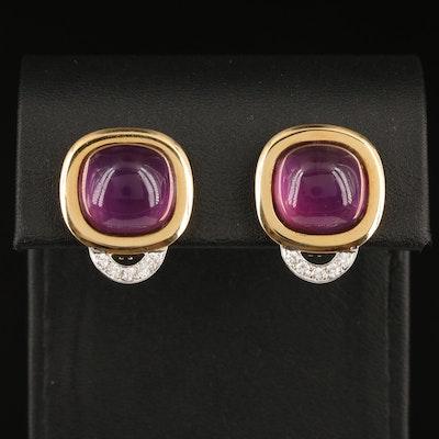 14K Amethyst and Diamond Earrings