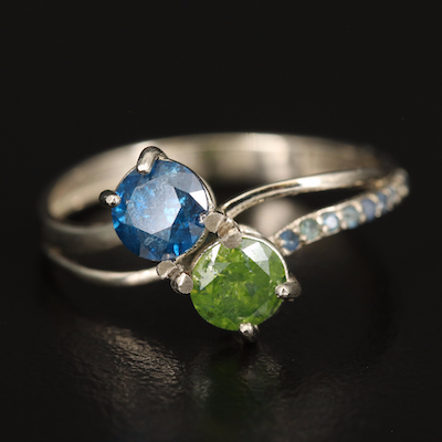 14K 1.00 CTW Green and Blue Diamond Ring with Sapphire Accents