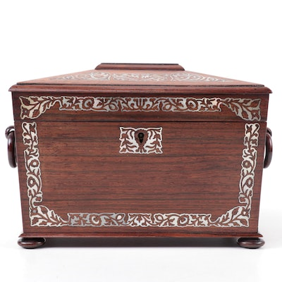 William IV English Rosewood and Abalone Tea Caddy, Mid-19th Century