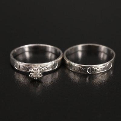 10K Diamond Matching Ring Set with Cross Motif