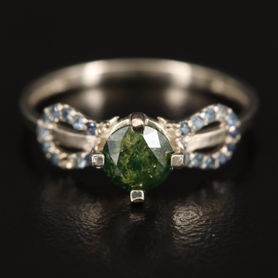 14K Green Diamond and Sapphire Ring